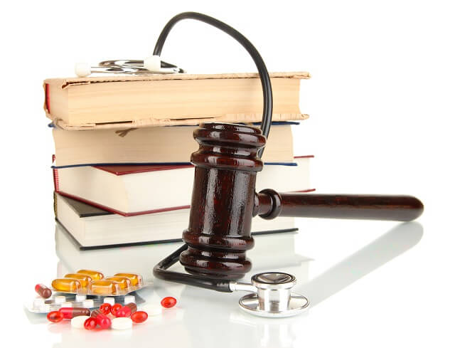 Health Care Books, Stethoscope and Gavel